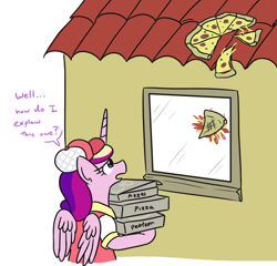 Size: 1072x1031 | Tagged: safe, artist:jargon scott, princess cadance, alicorn, pony, baseball cap, breaking bad, cadance's pizza delivery, cap, clothes, dialogue, female, food, hat, house, mare, meat, peetzer, pepperoni, pepperoni pizza, pizza, pizza box, solo, window