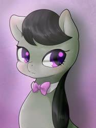 Size: 1200x1600   Tagged: safe, artist:ayahana, octavia melody, earth pony, pony, bowtie, bust, cute, female, mare, pixiv, portrait, purple background, simple background, solo, tavibetes