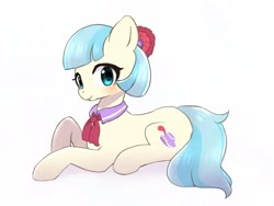 Size: 1600x1200 | Tagged: safe, artist:ayahana, coco pommel, earth pony, pony, cocobetes, cute, female, looking at you, mare, prone, simple background, solo, white background