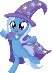 Size: 5582x7817 | Tagged: safe, artist:cyanlightning, trixie, pony, unicorn, .svg available, absurd resolution, bipedal, cape, clothes, cute, diatrixes, ear fluff, female, filly, filly trixie, happy, hat, open mouth, simple background, sitting, smiling, solo, standing, transparent background, trixie's cape, trixie's hat, vector, weapons-grade cute, younger