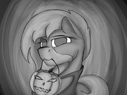 Size: 2000x1500 | Tagged: safe, artist:diskrt, oc, earth pony, pony, candy, food, halloween, holiday, monochrome, mouth hold, pumpkin, pumpkin bucket, solo, trick or treat