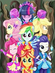 Size: 679x902 | Tagged: safe, artist:samyvillaly, applejack, fluttershy, pinkie pie, rainbow dash, rarity, sci-twi, sunset shimmer, twilight sparkle, human, equestria girls, legend of everfree, clothes, crystal guardian, everfree forest, geode of empathy, geode of shielding, geode of super speed, geode of super strength, geode of telekinesis, humane five, humane seven, humane six, magical geodes, ponied up, suit