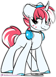 Size: 1225x1687 | Tagged: safe, artist:mulberrytarthorse, oc, oc only, pony, unicorn, female, headphones, mare, outline, patreon, patreon logo, simple background, smiling, solo, transparent background