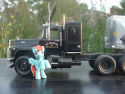 Size: 1024x768 | Tagged: safe, artist:lonewolf3878, rainbow dash, pegasus, pony, blind bag, convoy, custom, female, irl, mack truck, model, photo, rearing, toy, truck