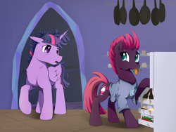Size: 4000x3000 | Tagged: safe, artist:zoarvek, tempest shadow, twilight sparkle, alicorn, pony, unicorn, breakfast, broken horn, clothed ponies, clothes, cute, dusk shine, female, half r63 shipping, horn, kitchen, male, messy mane, morning after, ponies wearing clothing, rule 63, shipping, shipping fuel, sleepy, story in the source, straight, twilight's castle