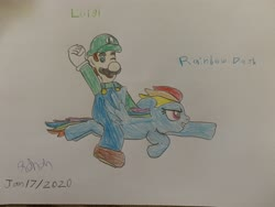 Size: 4032x3024 | Tagged: safe, rainbow dash, pegasus, crossover, flying, humans riding ponies, luigi, luigidash, nintendo, one eye closed, riding, super mario bros., traditional art, wink