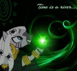 Size: 1252x1156   Tagged: safe, zecora, zebra, cutie mark, dark, female, green background, lens flare, magic, neon, quote, simple background, solo, wallpaper