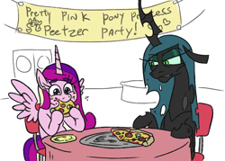 Size: 988x708 | Tagged: safe, artist:jargon scott, princess cadance, queen chrysalis, alicorn, changeling, changeling queen, pony, /mlp/, alliteration, disgusted, eating, female, food, mare, meat, mushroom, peetzer, pepperoni, pepperoni pizza, pizza, ponies eating meat, that pony sure does love pizza