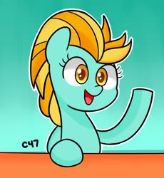 Size: 623x677 | Tagged: safe, artist:handgunboi, lightning dust, pegasus, pony, female, mare, open mouth, simple background, solo, teal background