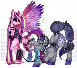 Size: 1280x1120 | Tagged: safe, artist:rancidious, princess cadance, oc, oc:verlo streams, unicorn, anklet, ass up, black lipstick, clothes, collar, corset, decadence, ear piercing, eyeshadow, fangs, female, femdom, goth, jacket, leash, leather jacket, lipstick, makeup, nose piercing, nose ring, pet play, piercing, spiked collar, spiked wristband, stockings, tail wrap, tailcuff, thigh highs, torn clothes, torn stockings, wing piercing, wristband