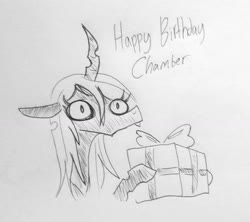 Size: 1335x1188 | Tagged: safe, artist:tjpones, queen chrysalis, changeling, changeling queen, birthday, birthday gift, fangs, female, monochrome, present, simple background, sketch, traditional art, white background