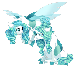 Size: 2500x2300 | Tagged: safe, artist:gigason, oc, oc only, changepony, hybrid, female, flying, interspecies offspring, offspring, parent:queen chrysalis, parent:shining armor, parents:shining chrysalis, siblings, simple background, sisters, sitting, transparent background, twin sisters, twins