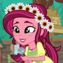 Size: 884x883 | Tagged: safe, screencap, gloriosa daisy, equestria girls, legend of everfree, cropped, cute, daisybetes, magical geodes, solo