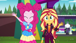 Size: 1920x1080 | Tagged: safe, screencap, max steele, pinkie pie, sunset shimmer, equestria girls, equestria girls series, sunset's backstage pass!, spoiler:eqg series (season 2)