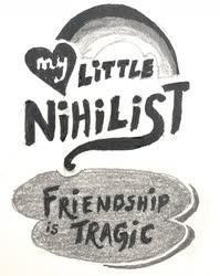 Size: 1154x1447 | Tagged: safe, artist:kopaleo, logo, my little pony logo, nihilism, parody, pen, pencil, traditional art
