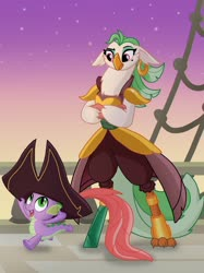 Size: 2048x2732 | Tagged: safe, artist:justsomepainter11, captain celaeno, spike, anthro, bird, dragon, parrot, my little pony: the movie, spoiler:my little pony movie, celaeno's airship, crossed arms, evening, happy, hat, night, night sky, pirate hat, running, sky, wondering