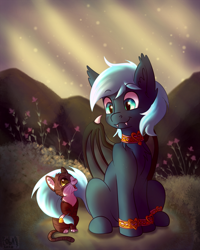 Size: 864x1080 | Tagged: safe, artist:zobaloba, oc, oc:guttatus, bat pony, cat, pony, cute, digital art, flower, forest, friendship, fullbody, grass, pet, rock, ych example, ych result, your character here