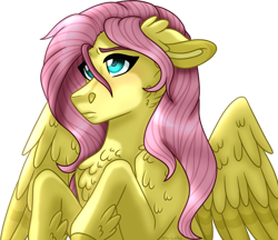 Size: 1024x885 | Tagged: safe, artist:artistcoolpony, fluttershy, pegasus, pony, bust, chest fluff, female, floppy ears, looking away, mare, portrait, simple background, solo, spread wings, stray strand, three quarter view, transparent background, wings