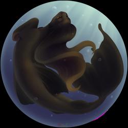 Size: 2339x2338 | Tagged: safe, artist:nika-rain, oc, oc:amelia, mermaid, pony, seapony (g4), full body, ocean, simple background, solo, tail
