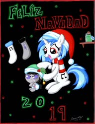 Size: 1024x1337 | Tagged: safe, artist:rammzblood, dj pon-3, octavia melody, vinyl scratch, earth pony, pony, unicorn, 2019, angry, baby, baby pony, christmas, clothes, crossed hooves, diaper, duo, duo female, female, hat, holiday, mare, octavia is not amused, potion, santa hat, scarf, smiling, socks, spanish, text, unamused, younger