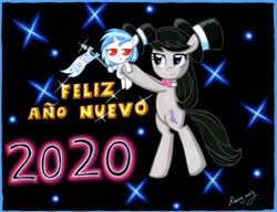 Size: 1024x785 | Tagged: safe, artist:rammzblood, dj pon-3, octavia melody, vinyl scratch, earth pony, pony, unicorn, baby, baby pony, bipedal, bowtie, diaper, duo, duo female, female, happy new year, happy new year 2020, hat, holding a pony, holiday, mare, smiling, spanish, text, top hat, unamused, vinyl is not amused, younger