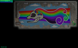 Size: 1440x900 | Tagged: safe, rainbow dash, oc, oc:green peas, game, mural