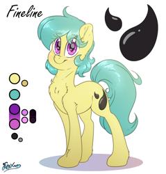 Size: 2200x2300   Tagged: safe, artist:fluffyxai, oc, oc:fineline, earth pony, eye clipping through hair, female, mare, refsheet, smiling, standing