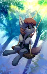 Size: 2080x3275 | Tagged: safe, artist:taneysha, oc, oc only, oc:kova, earth pony, pony, crepuscular rays, forest, looking up, outdoors, solo, sun, swing, swinging, tree
