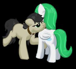 Size: 684x621 | Tagged: safe, artist:stillsings, oc, oc:autumn, oc:zephyr, earth pony, pegasus, pony, collar, fanfic art, female, mare, nuzzling, pet, pony pet, simple background, transparent background