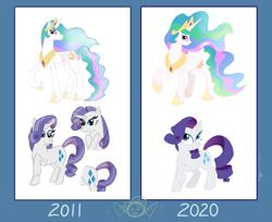 Size: 1908x1560 | Tagged: safe, artist:necrofeline, derpibooru exclusive, princess celestia, rarity, alicorn, pony, unicorn, 2011 vs 2020, art progress, comparison, draw this again, redraw
