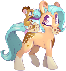 Size: 3816x4096 | Tagged: safe, artist:cutepencilcase, oc, oc only, oc:galinn light, oc:pencilcase, earth pony, cookie, cookie in mouth, cookie jar, eating, female, food, furry, furry oc, mare, smiling, walking