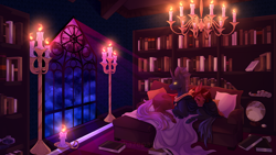 Size: 4320x2430 | Tagged: safe, artist:hazepages, oc, oc:red flux, changeling, blanket, book, bookshelf, candle, chandelier, cloud, couch, globe, inkwell, library, night, pillow, quill, red changeling, scroll, window, yellow changeling