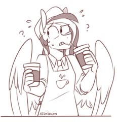 Size: 640x693 | Tagged: safe, artist:redxbacon, oc, oc only, oc:margon, anthro, pegasus, anthro oc, apron, cafe, cafeteria, clothes, coffee, coffee cup, confused, cup, male, monochrome, necktie, question mark, shirt, simple background, solo, sweat, sweatdrop, white background