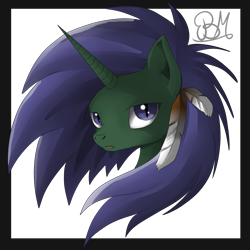 Size: 2000x2000 | Tagged: safe, artist:dreamyartcosplay, oc, oc only, oc:silver dream, bust, feather, female, mare, nightmarified, signature, simple background, solo, transparent background