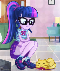Size: 624x736 | Tagged: safe, artist:charliexe, sci-twi, twilight sparkle, cat, equestria girls, equestria girls series, clothes, cute, digital art, dress, female, geode of telekinesis, glasses, legs, magical geodes, ponytail, schrödinger's pantsu, shoes, skirt, smiling, socks, solo, thighs, twiabetes, upskirt