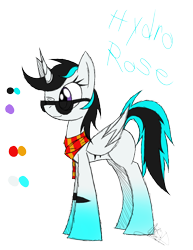 Size: 888x1150 | Tagged: safe, artist:didun850, oc, oc only, oc:hydro rose, alicorn, pony, alicorn oc, clothes, female, mare, one eye closed, reference sheet, scarf, signature, simple background, sunglasses, text, transparent background, wink