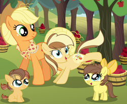 Size: 5498x4522 | Tagged: safe, artist:galaxyswirlsyt, applejack, oc, oc:apple flower, oc:apple pie, oc:appleseed, earth pony, pony, 5-year-old, absurd resolution, apple, apple tree, applebucking, base used, cutiespark, female, filly, food, offspring, older, older applejack, parent:applejack, parent:caramel, parents:carajack, tree