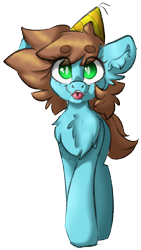 Size: 1332x2368 | Tagged: safe, artist:itsspoopsb, artist:spoopygander, edit, oc, oc only, oc:neko, earth pony, pony, :p, chest fluff, ear fluff, earth pony oc, fangs, female, hat, looking at you, mare, party hat, simple background, solo, tongue out, transparent background