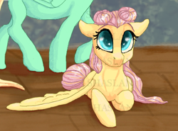 Size: 650x480 | Tagged: safe, artist:shaslan, fluttershy, zephyr breeze, alternate hairstyle, makeover, obtrusive watermark, offscreen character, watermark