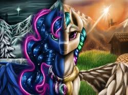 Size: 2049x1536   Tagged: safe, artist:techwingidustries, princess celestia, princess luna, alicorn, eyelashes, grass, mountain, snow, sun, tree