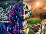 Size: 2049x1536 | Tagged: safe, artist:techwingidustries, princess celestia, princess luna, alicorn, pony, eyelashes, female, grass, mare, mountain, peytral, snow, split screen, sun, tree