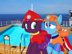 Size: 1440x1080 | Tagged: safe, artist:rainbow eevee, artist:徐詩珮, fizzlepop berrytwist, spring rain, tempest shadow, unicorn, series:sprglitemplight diary, series:sprglitemplight life jacket days, series:springshadowdrops diary, series:springshadowdrops life jacket days, alternate universe, broken horn, cute, female, horn, lesbian, lifeguard, lifeguard spring rain, paw patrol, shipping, shy, springbetes, springshadow, swimming pool, tempestbetes, zuma