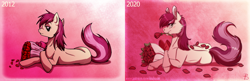 Size: 3000x971 | Tagged: safe, artist:inuhoshi-to-darkpen, roseluck, earth pony, pony, 2012, 2020, art evolution, bouquet, female, flower, flower in mouth, mare, mouth hold, petals, pink background, prone, remake, rose, rose in mouth, simple background, solo