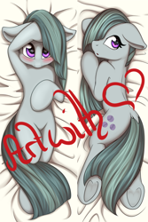 Size: 1000x1500 | Tagged: safe, artist:melodis, marble pie, earth pony, bedroom eyes, blushing, body pillow, body pillow design, commission, cute, dock, female, floppy ears, marblebetes, mare, obtrusive watermark, solo, watermark