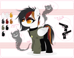 Size: 4300x3400 | Tagged: safe, alternate version, artist:666lost-soul666, oc, oc only, oc:mist-erie wings, demon, ghost, pegasus, pony, badge, barrett, clothes, cross, detective, ear piercing, earring, eyeshadow, female, gun, handgun, heart eyes, jacket, jeans, jewelry, m9, makeup, mare, pants, piercing, pistol, reference sheet, simple background, solo, sweater, weapon, white background, wingding eyes