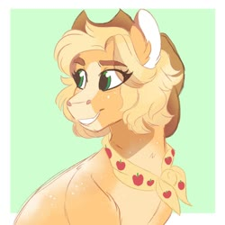 Size: 1200x1200 | Tagged: safe, artist:scarletskitty12, applejack, earth pony, pony, the last problem, spoiler:s09e26, abstract background, alternate hairstyle, blaze (coat marking), coat markings, cowboy hat, cute, ear fluff, eye clipping through hair, eyebrows visible through hair, female, granny smith's scarf, green background, hat, jackabetes, leg fluff, mare, older, older applejack, short hair, simple background, solo