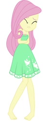 Size: 310x868   Tagged: safe, artist:marcorois, editor:thomasfan45, fluttershy, human, equestria girls, equestria girls series, street chic, spoiler:eqg series (season 2), bare shoulders, barefoot, clothes, cold, crossed arms, cute, dress, edited vector, eyes closed, feet, female, freezing, geode of fauna, legs, magical geodes, shivering, shyabetes, simple background, solo, vector, white background
