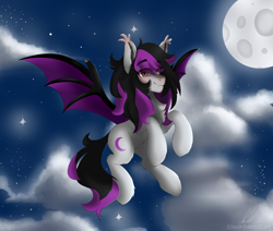 Size: 2600x2200 | Tagged: safe, artist:cottonsweets, oc, oc only, oc:dm||sm, bat pony, chest fluff, eye clipping through hair, fluffy, flying, moon, night, original character do not steal, smiling, solo, spread wings, wings
