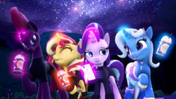 Size: 3840x2160 | Tagged: safe, artist:loveslove, starlight glimmer, sunset shimmer, tempest shadow, trixie, 3d, cellphone, clothes, drink, eyes closed, levitation, magic, one hoof raised, phone, source filmmaker, telekinesis, tongue out, walking