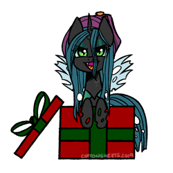 Size: 700x700 | Tagged: safe, artist:cottonsweets, queen chrysalis, antagonist, canon, christmas changeling, commission, cute, hat, part of a set, present, simple background, solo, transparent background, ych result